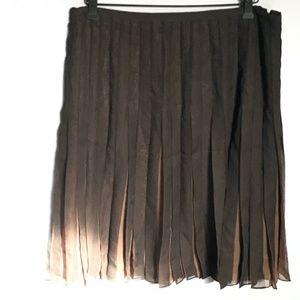Esprit Pleated Brown on Brown Beautiful Skirt SZ14